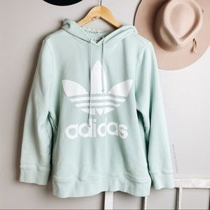 Adidas Logo Mint Blue Trefoil Hoodie Sweatshirt XL